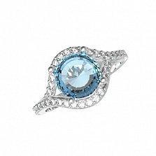 Серебряное кольцо Фиона с голубым кварцем и фианитами