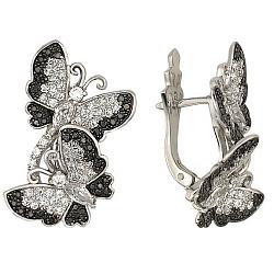 Серьги из белого золота Весенние бабочки с фианитами