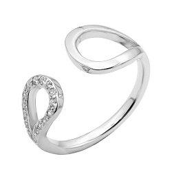 Серебряное кольцо с разомкнутой шинкой и фианитами 000123123