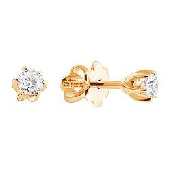 Золотые сережки-пуссеты в желтом цвете с бриллиантами 000045904