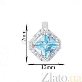 Серебряные серьги Милана с голубыми топазами и фианитами 000045559