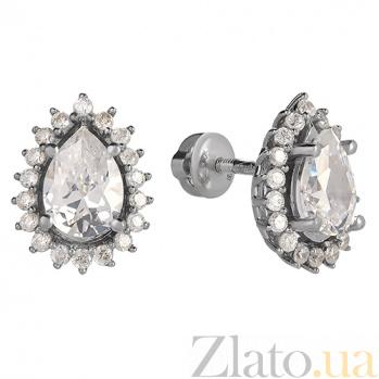 Серебряные серьги пуссеты Капля с белыми фианитами 000015280