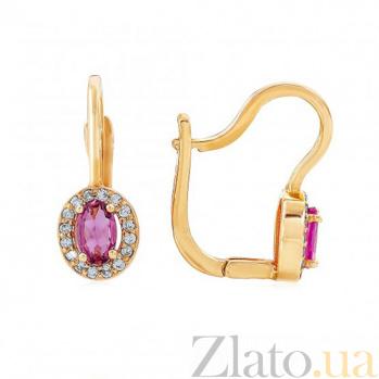 Золотые серьги с турмалином и бриллиантами Элиза 000017576