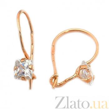 Золотые серьги с фианитами Принцесса Лея SUF--100105