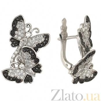 Серьги из белого золота Весенние бабочки с фианитами VLT--ТТ227