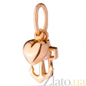Золотой подвес с цирконием Вера Надежда Любовь SUF--421102