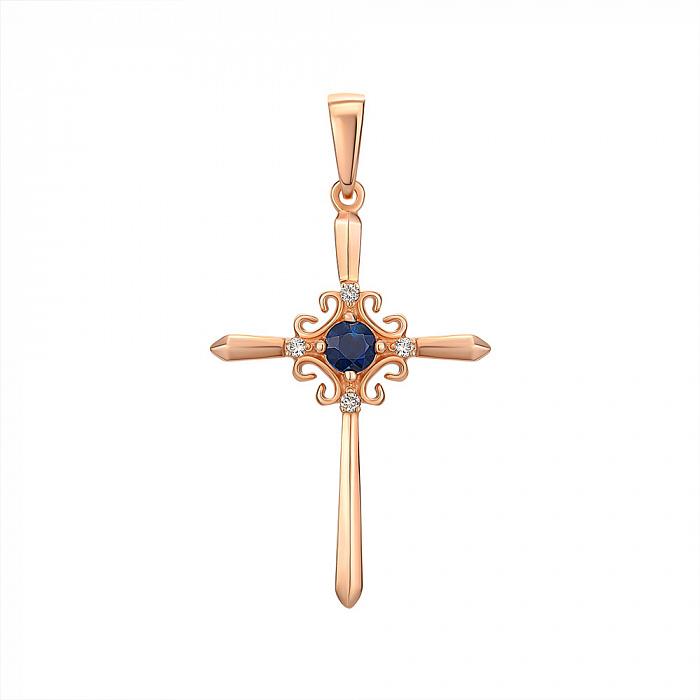 Декоративный крестик из красного золота с сапфиром и бриллиантами 000126023 000126023