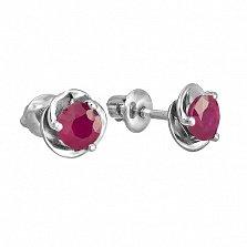 Серебряные серьги-пуссеты с рубинами Подарок