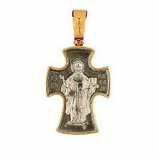 Золотой крестик с черным и белым родием Святой Николай