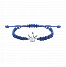 Детский плетеный браслет Принц с cеребряной вставкой и фианитом 10-10см