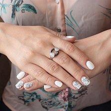 Кольцо из серебра и черной керамики Фонтана с фианитами