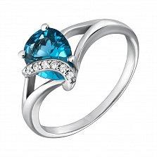 Серебряное кольцо Македония с кварцем под лондон топаз и фианитами