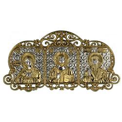 Автомобильная серебряная икона-триптих Богородица, Иисус и Николай Чудотворец с позолотой