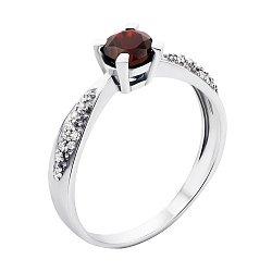 Серебряное кольцо с гранатом и фианитами Анни 000008141