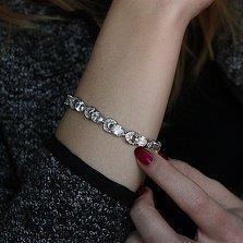 Серебряный браслет Эльвира с фианитами в форме овала и трапеции