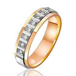 Обручальное кольцо в комбинированном цвете золота с бриллиантами 000001115