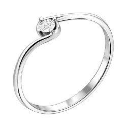 Золотое кольцо Эффектный нюанс в белом цвете с бриллиантом