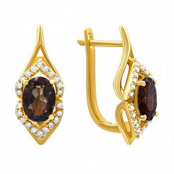 Серьги из желтого золота с раухтопазами и бриллиантами 000139391