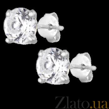 Серебряные серьги-пуссеты с цирконием Эсселта SLX--С1Ф/603