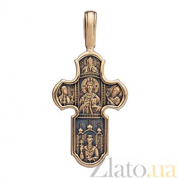 Золотой крест с чернением Крещение Руси ONX--пю01212