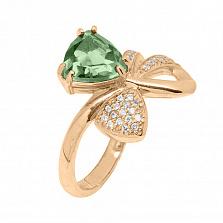 Кольцо в красном золоте Сюрприз зеленым кварцем и фианитами