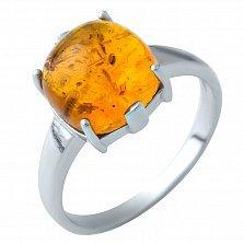 Серебряное кольцо Августа с янтарем