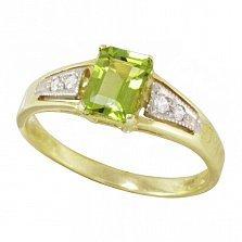 Золотое кольцо Тереза с хризолитом и фианитами