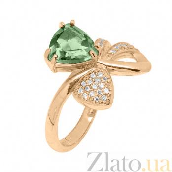 Кольцо в красном золоте Сюрприз зеленым кварцем и фианитами SVA--1190722101/Кварц