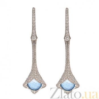 Золотые серьги с бриллиантами и топазами Глория ZMX--ET-6589w_K
