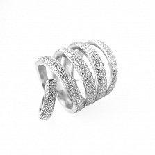 Серебряное кольцо Лунная спираль с усыпкой циркония
