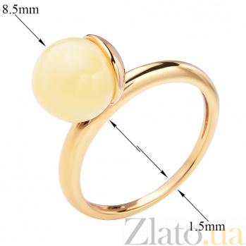 Позолоченное серебряное кольцо Французский беретик с лимонным янтарем 000118975