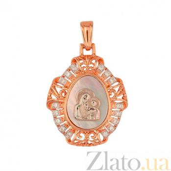 Золотая ладанка с перламутром Казанская Божья Матерь VLT--Е3449
