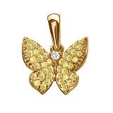 Золотой подвес с жёлтыми бриллиантами Бабочка