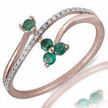 Кольцо Алиса из красного золота с бриллиантами и изумрудами
