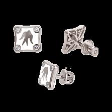 Золотые серьги-пуссеты с бриллиантами и эмалью Полет ласточек White Edition