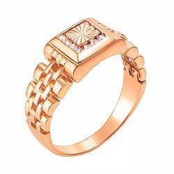 Перстень-печатка из красного золота в форме часов с фианитами 000117641
