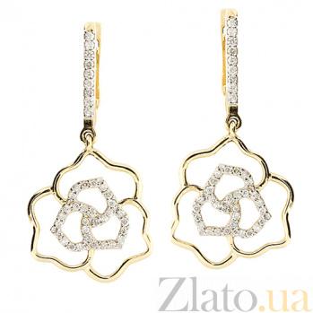 Золотые серьги с бриллиантами Роза ZMX--ED-6753_K
