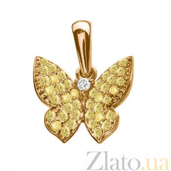 Золотой подвес с жёлтыми бриллиантами Бабочка 000029257