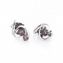Серебряные серьги Агнесса с раухтопазом