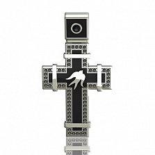 Эксклюзивный золотой крестик с чёрными бриллиантами и эмалью Полет ласточек