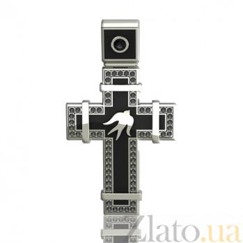 Эксклюзивный золотой крестик с чёрными бриллиантами и эмалью Полет ласточек 000026509