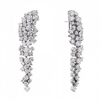 Срібні сережки-підвіски з фіанітами 000136575