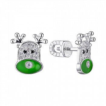Серебряные серьги-пуссеты с эмалью и фианитами 000148280