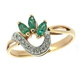 Золотое кольцо с изумрудом и бриллиантами Алиша