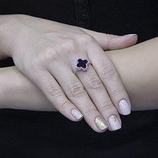 Серебряное кольцо Лиамия с черным ониксом в стиле Ван Клиф
