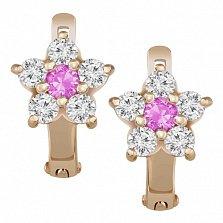 Золотые серьги Астра с белыми и розовыми фианитами