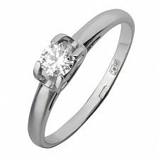 Золотое кольцо Совершенство в белом цвете с фианитом