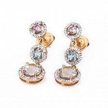 Золотые серьги Эванжелина с аметистами, бриллиантами и топазами