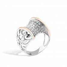 Серебряное кольцо Андромеда с золотыми накладками, фианитами и родием