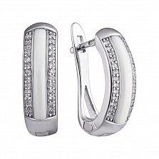 Серебряные серьги Modern Fashion с белой керамикой и цирконием